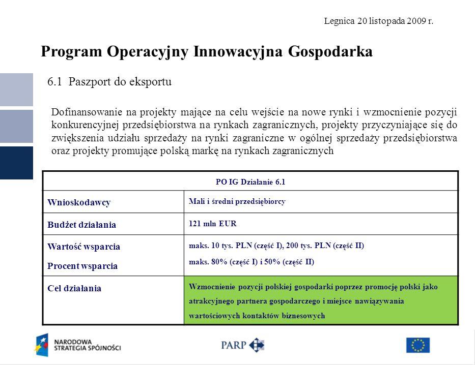 Legnica 20 listopada 2009 r. 6.1 Paszport do eksportu Polska Agencja Rozwoju Przedsiębiorczości ©21 PO IG Działanie 6.1 Wnioskodawcy Mali i średni prz