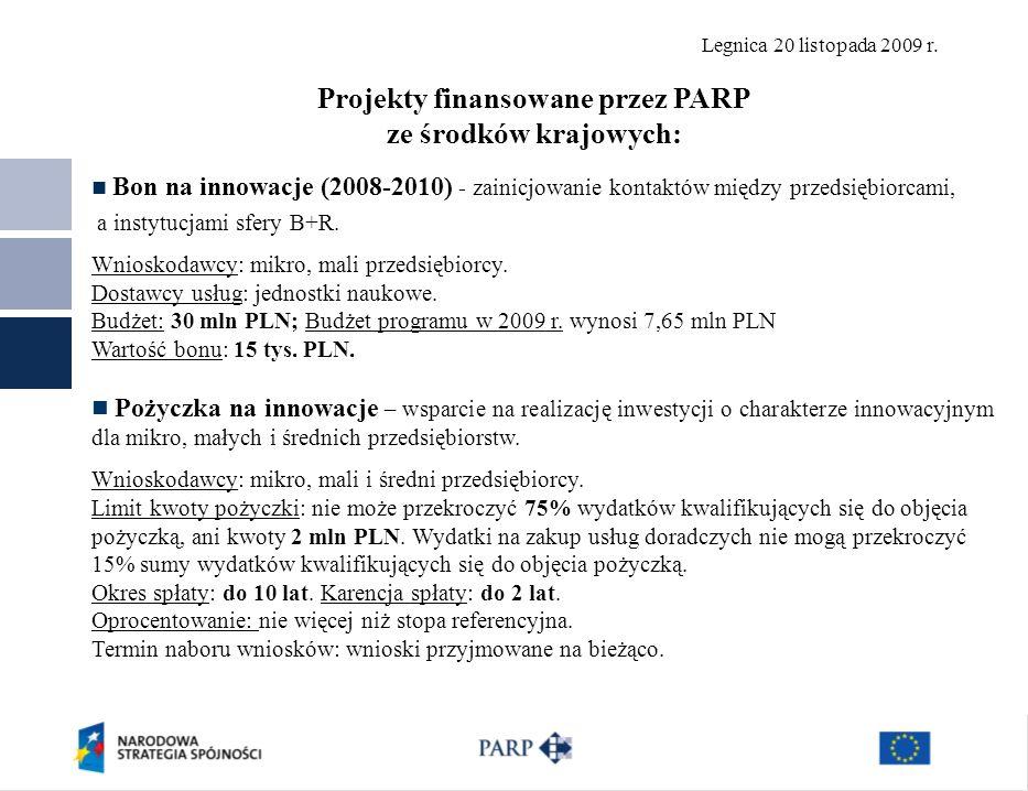 Legnica 20 listopada 2009 r. Projekty finansowane przez PARP ze środków krajowych: Bon na innowacje (2008-2010) - zainicjowanie kontaktów między przed