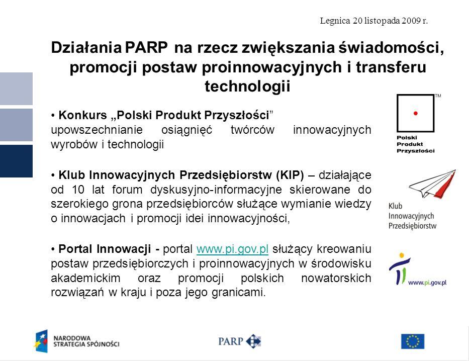 Legnica 20 listopada 2009 r. Działania PARP na rzecz zwiększania świadomości, promocji postaw proinnowacyjnych i transferu technologii Konkurs Polski