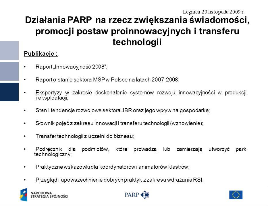 Legnica 20 listopada 2009 r. Publikacje : Raport Innowacyjność 2008; Raport o stanie sektora MSP w Polsce na latach 2007-2008; Ekspertyzy w zakresie d