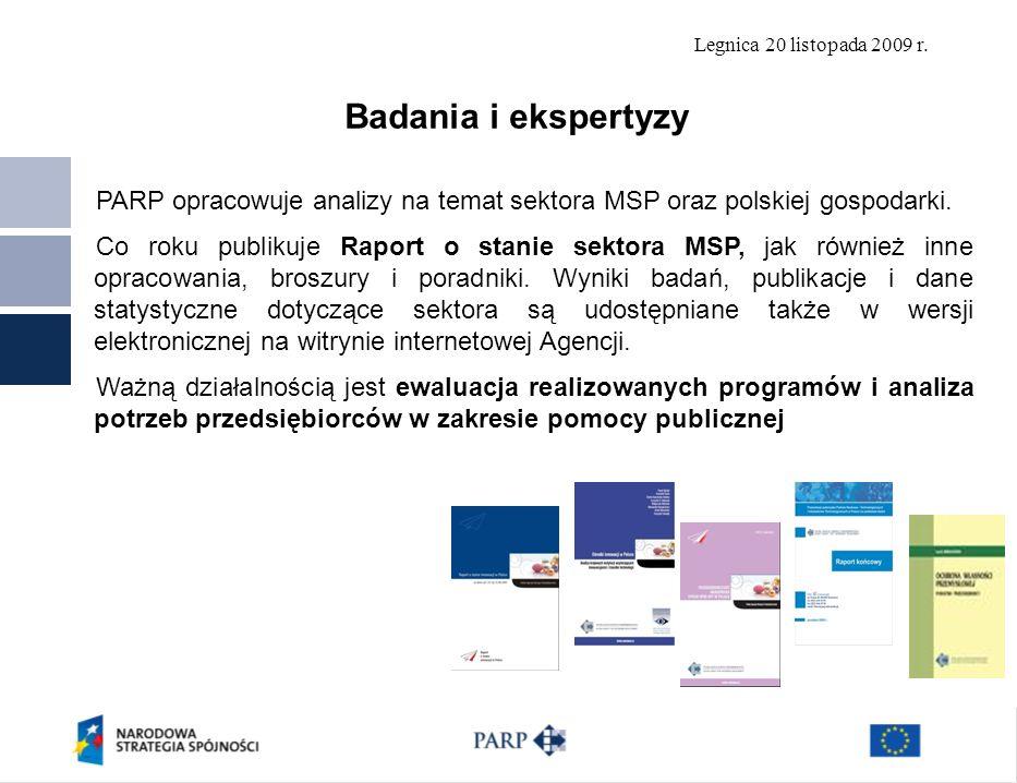 Legnica 20 listopada 2009 r. PARP opracowuje analizy na temat sektora MSP oraz polskiej gospodarki. Co roku publikuje Raport o stanie sektora MSP, jak