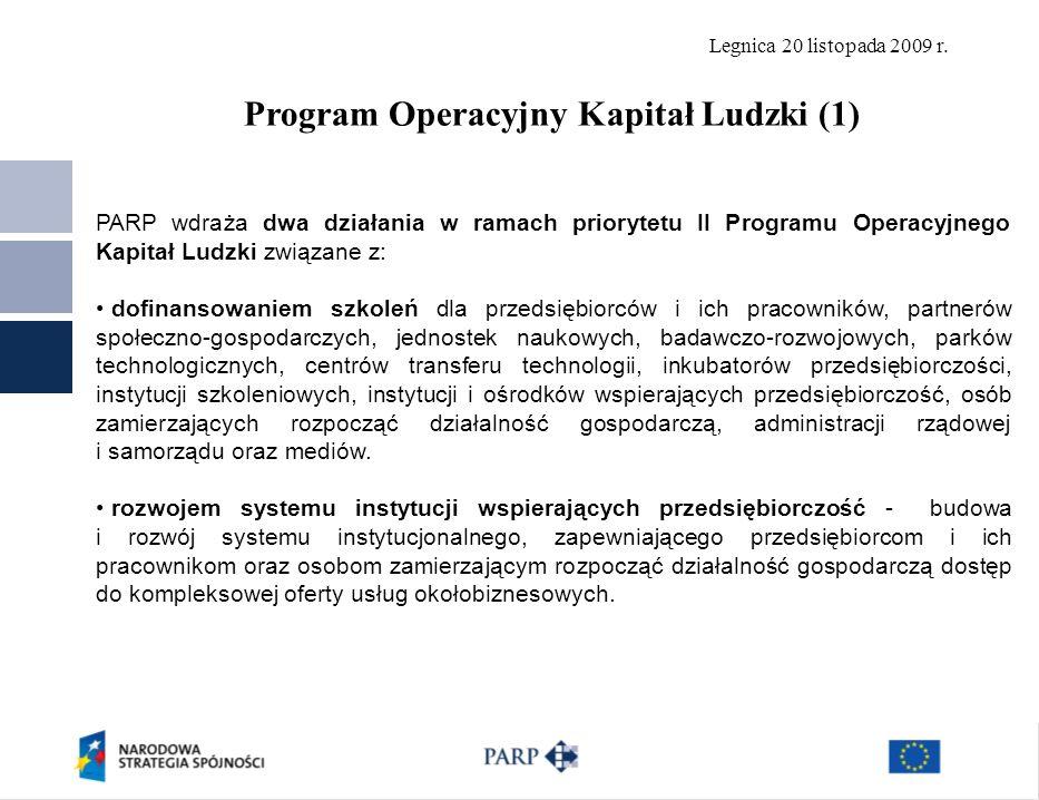 Legnica 20 listopada 2009 r. 8 PARP wdraża dwa działania w ramach priorytetu II Programu Operacyjnego Kapitał Ludzki związane z: dofinansowaniem szkol