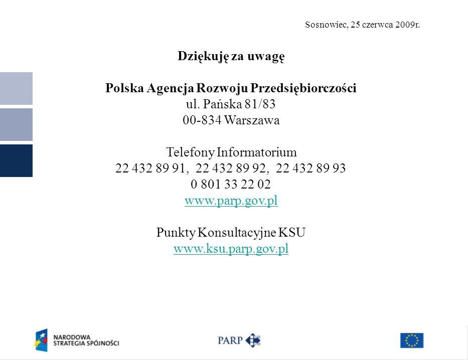 Sosnowiec, 25 czerwca 2009r. Dziękuję za uwagę Polska Agencja Rozwoju Przedsiębiorczości ul.