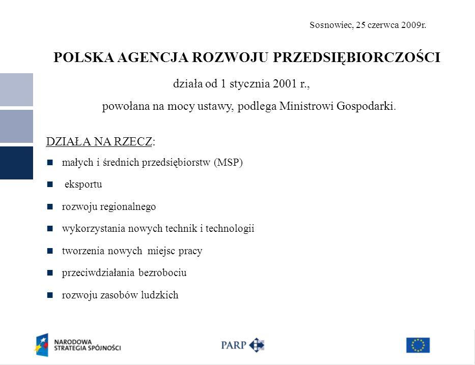 Sosnowiec, 25 czerwca 2009r.Dziękuję za uwagę Polska Agencja Rozwoju Przedsiębiorczości ul.