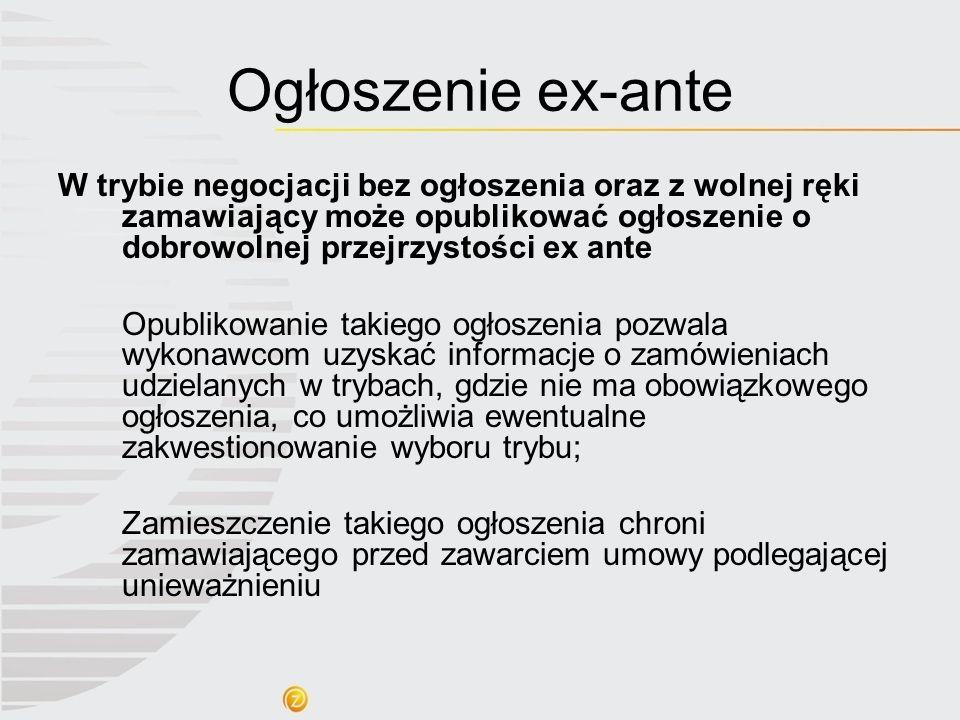 Ogłoszenie ex-ante W trybie negocjacji bez ogłoszenia oraz z wolnej ręki zamawiający może opublikować ogłoszenie o dobrowolnej przejrzystości ex ante