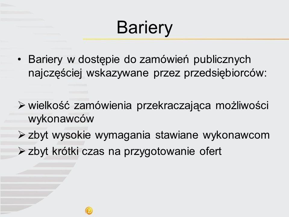 Bariery Bariery w dostępie do zamówień publicznych najczęściej wskazywane przez przedsiębiorców: wielkość zamówienia przekraczająca możliwości wykonaw