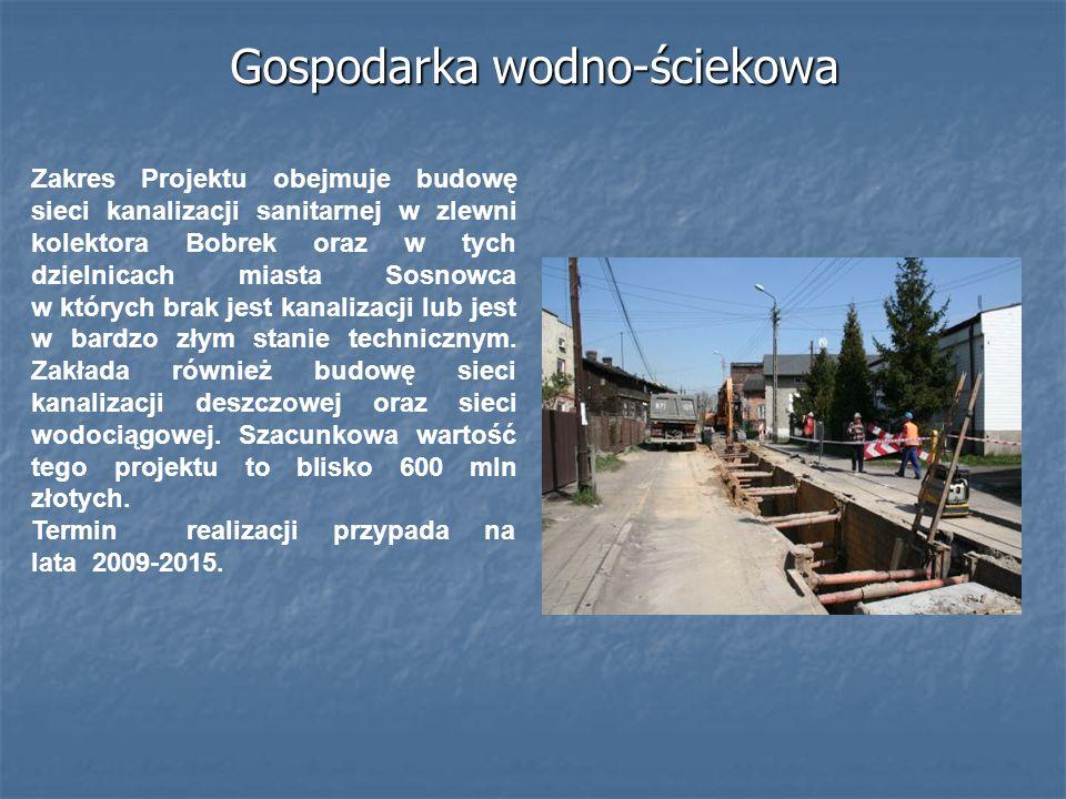 Gospodarka wodno-ściekowa Zakres Projektu obejmuje budowę sieci kanalizacji sanitarnej w zlewni kolektora Bobrek oraz w tych dzielnicach miasta Sosnow