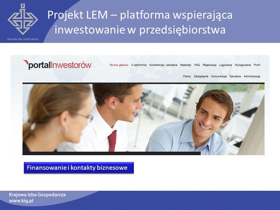 Projekt LEM – platforma wspierająca inwestowanie w przedsiębiorstwa Finansowanie i kontakty biznesowe