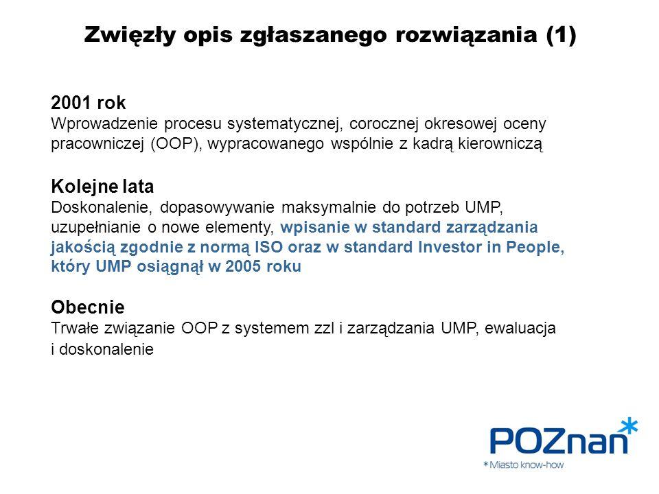 Zwięzły opis zgłaszanego rozwiązania (1) 2001 rok Wprowadzenie procesu systematycznej, corocznej okresowej oceny pracowniczej (OOP), wypracowanego wsp