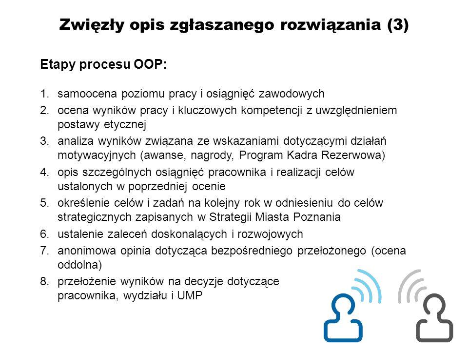 Zwięzły opis zgłaszanego rozwiązania (3) Etapy procesu OOP: 1.samoocena poziomu pracy i osiągnięć zawodowych 2.ocena wyników pracy i kluczowych kompet
