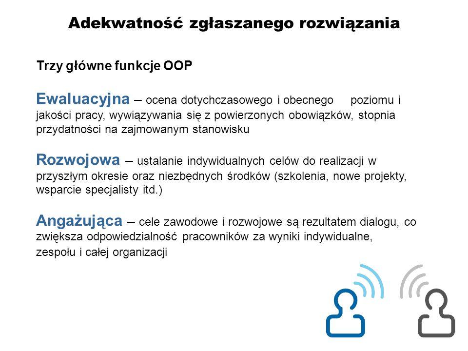 Adekwatność zgłaszanego rozwiązania Trzy główne funkcje OOP Ewaluacyjna – ocena dotychczasowego i obecnego poziomu i jakości pracy, wywiązywania się z