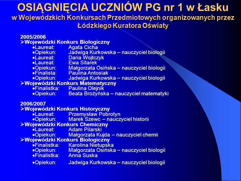 OSIĄGNIĘCIA UCZNIÓW PG nr 1 w Łasku w Wojewódzkich Konkursach Przedmiotowych organizowanych przez Łódzkiego Kuratora Oświaty 2005/2006 Wojewódzki Konk