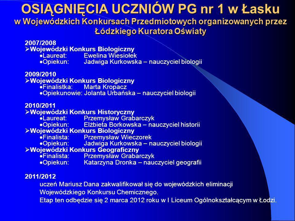 OSIĄGNIĘCIA UCZNIÓW PG nr 1 w Łasku w Wojewódzkich Konkursach Przedmiotowych organizowanych przez Łódzkiego Kuratora Oświaty 2007/2008 Wojewódzki Konk
