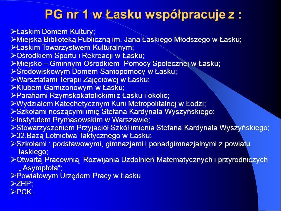 PG nr 1 w Łasku współpracuje z : Łaskim Domem Kultury; Miejską Biblioteką Publiczną im. Jana Łaskiego Młodszego w Łasku; Łaskim Towarzystwem Kulturaln