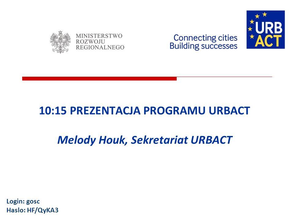 10:15 PREZENTACJA PROGRAMU URBACT Melody Houk, Sekretariat URBACT Login: gosc Haslo: HF/QyKA3