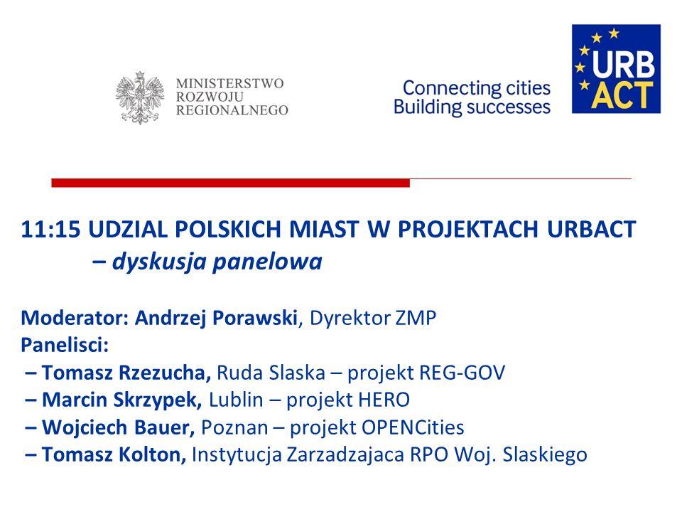 11:15 UDZIAL POLSKICH MIAST W PROJEKTACH URBACT – dyskusja panelowa Moderator: Andrzej Porawski, Dyrektor ZMP Panelisci: – Tomasz Rzezucha, Ruda Slask