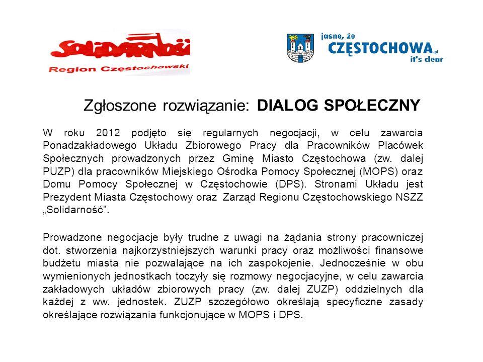 W roku 2012 podjęto się regularnych negocjacji, w celu zawarcia Ponadzakładowego Układu Zbiorowego Pracy dla Pracowników Placówek Społecznych prowadzonych przez Gminę Miasto Częstochowa (zw.