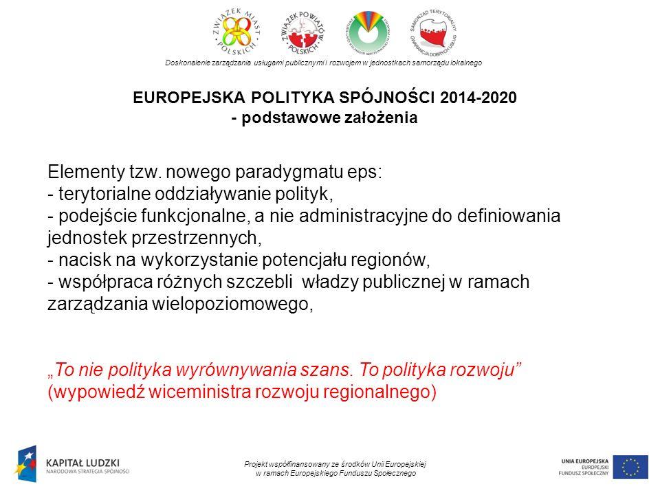 EUROPEJSKA POLITYKA SPÓJNOŚCI 2014-2020 - podstawowe założenia Doskonalenie zarządzania usługami publicznymi i rozwojem w jednostkach samorządu lokaln