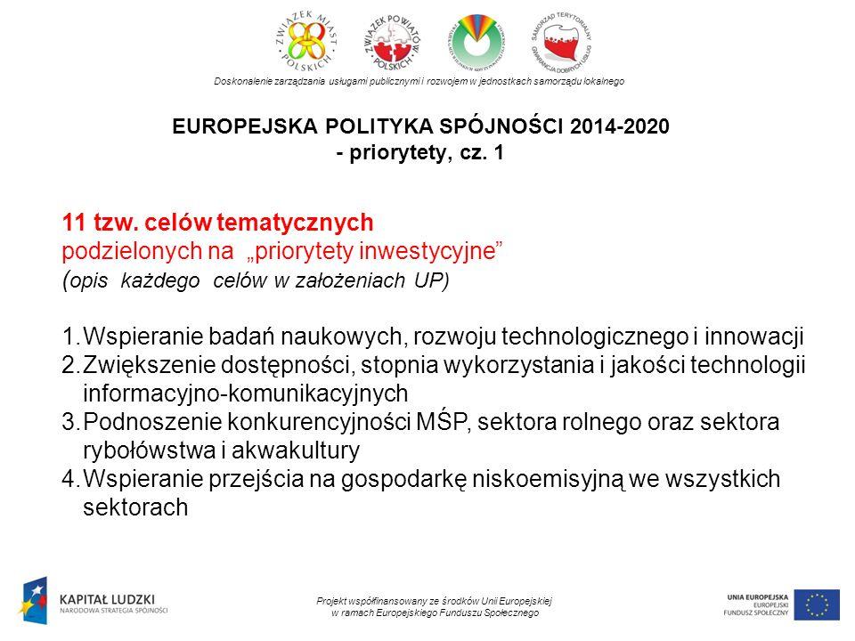 EUROPEJSKA POLITYKA SPÓJNOŚCI 2014-2020 - priorytety, cz. 1 Doskonalenie zarządzania usługami publicznymi i rozwojem w jednostkach samorządu lokalnego