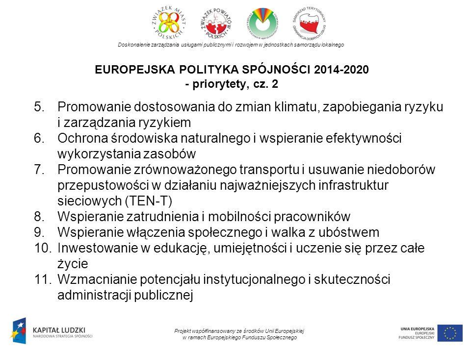 EUROPEJSKA POLITYKA SPÓJNOŚCI 2014-2020 - priorytety, cz. 2 Doskonalenie zarządzania usługami publicznymi i rozwojem w jednostkach samorządu lokalnego