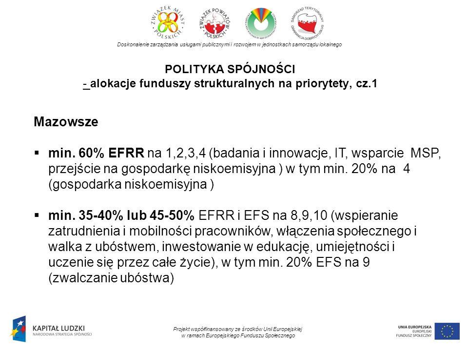 POLITYKA SPÓJNOŚCI - alokacje funduszy strukturalnych na priorytety, cz.1 Doskonalenie zarządzania usługami publicznymi i rozwojem w jednostkach samor