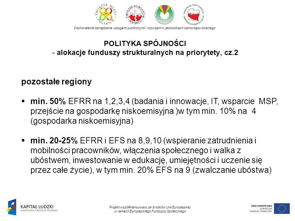 POLITYKA SPÓJNOŚCI - alokacje funduszy strukturalnych na priorytety, cz.2 Doskonalenie zarządzania usługami publicznymi i rozwojem w jednostkach samor