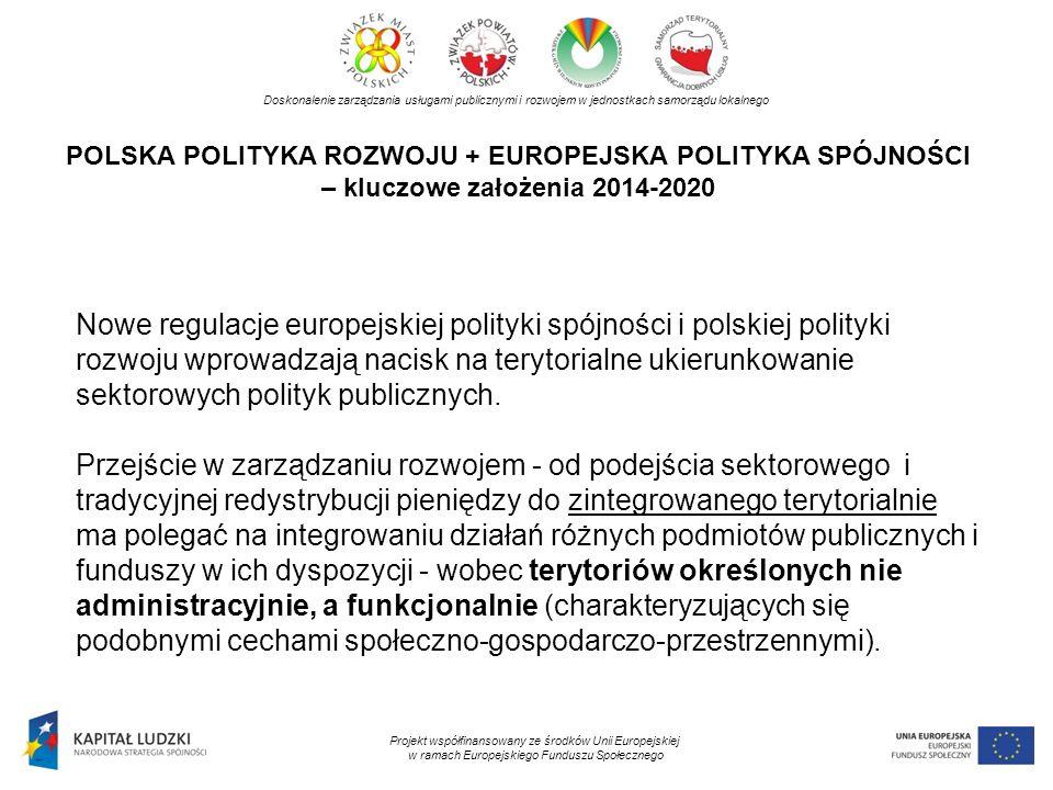 POLSKA POLITYKA ROZWOJU + EUROPEJSKA POLITYKA SPÓJNOŚCI – kluczowe założenia 2014-2020 Doskonalenie zarządzania usługami publicznymi i rozwojem w jedn