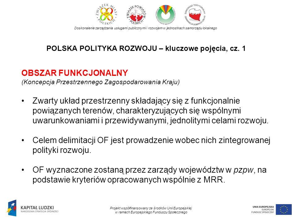 POLSKA POLITYKA ROZWOJU – kluczowe pojęcia, cz. 1 Doskonalenie zarządzania usługami publicznymi i rozwojem w jednostkach samorządu lokalnego Projekt w