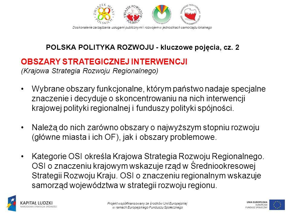 POLSKA POLITYKA ROZWOJU - kluczowe pojęcia, cz. 2 Doskonalenie zarządzania usługami publicznymi i rozwojem w jednostkach samorządu lokalnego Projekt w