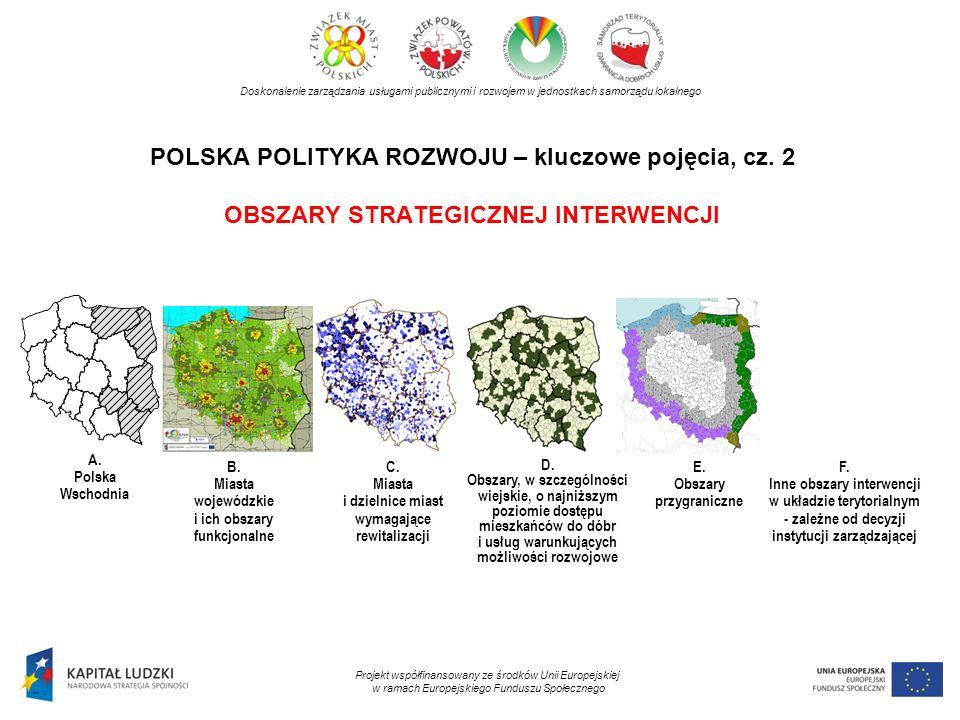 POLSKA POLITYKA ROZWOJU – kluczowe pojęcia, cz. 2 OBSZARY STRATEGICZNEJ INTERWENCJI Doskonalenie zarządzania usługami publicznymi i rozwojem w jednost