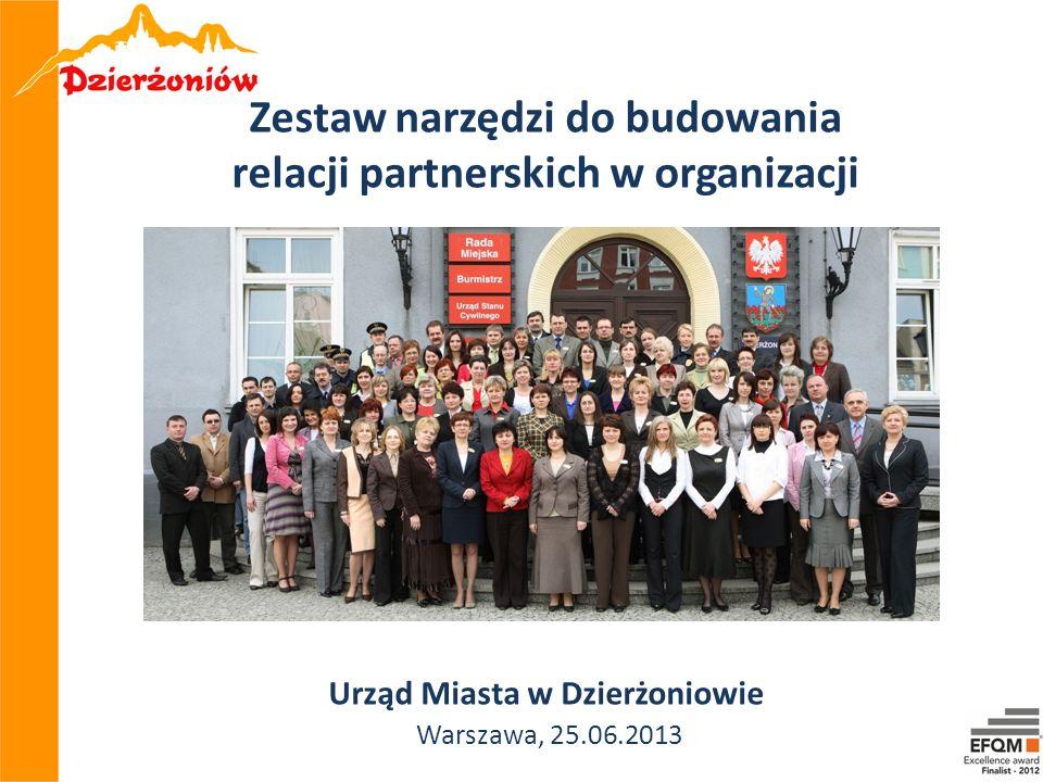 W Urzędzie Miasta w Dzierżoniowie obrano za cel podejmowanie działań przyczyniających się do integrowania zespołu, motywowania do wspólnej pracy, budowania kultury organizacyjnej opartej na relacjach partnerskich, ponieważ zmotywowani i zintegrowani pracownicy są najważniejszym czynnikiem sukcesu organizacji i podstawą do doskonalenia.