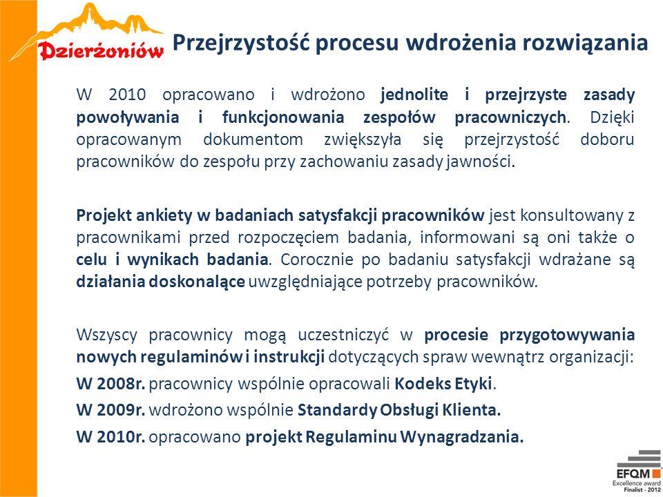 Przejrzystość procesu wdrożenia rozwiązania W 2010 opracowano i wdrożono jednolite i przejrzyste zasady powoływania i funkcjonowania zespołów pracowni