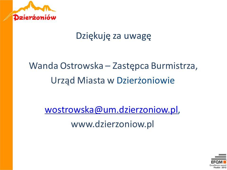 Dziękuję za uwagę Wanda Ostrowska – Zastępca Burmistrza, Urząd Miasta w Dzierżoniowie wostrowska@um.dzierzoniow.plwostrowska@um.dzierzoniow.pl, www.dz