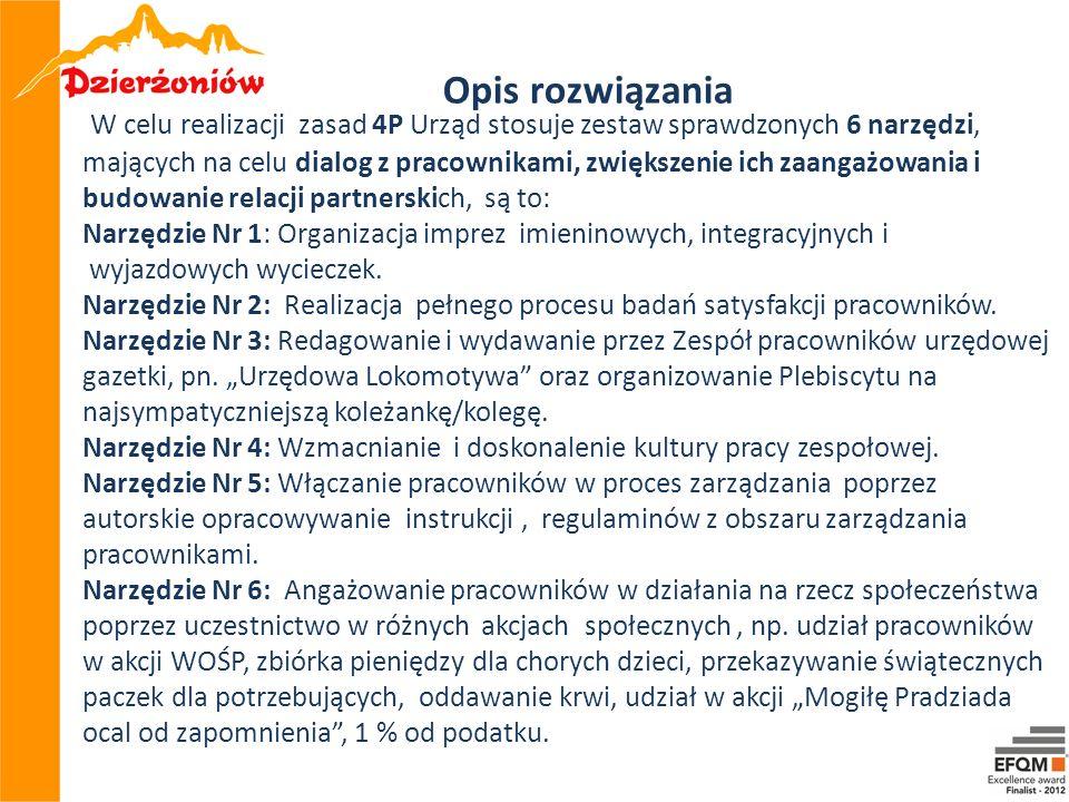 W celu realizacji zasad 4P Urząd stosuje zestaw sprawdzonych 6 narzędzi, mających na celu dialog z pracownikami, zwiększenie ich zaangażowania i budow