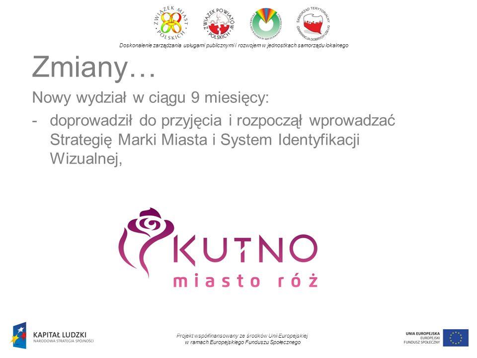 Doskonalenie zarządzania usługami publicznymi i rozwojem w jednostkach samorządu lokalnego Projekt współfinansowany ze środków Unii Europejskiej w ramach Europejskiego Funduszu Społecznego Zmiany… Nowy wydział w ciągu 9 miesięcy: -zmienił stronę internetową miasta, koordynuje zmiany stron instytucji kultury (maksymalna kompatybilność i zbieżność wizualna),