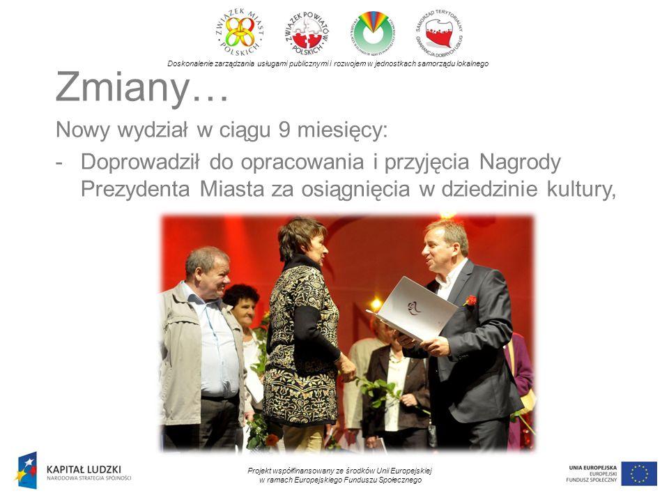 Doskonalenie zarządzania usługami publicznymi i rozwojem w jednostkach samorządu lokalnego Projekt współfinansowany ze środków Unii Europejskiej w ramach Europejskiego Funduszu Społecznego Zmiany… Nowy wydział w ciągu 9 miesięcy: -Doprowadził do opracowania i przyjęcia Nagrody Prezydenta Miasta za osiągnięcia w dziedzinie kultury,