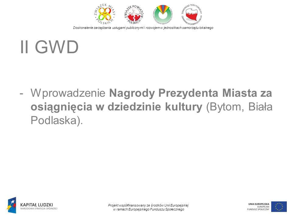 Doskonalenie zarządzania usługami publicznymi i rozwojem w jednostkach samorządu lokalnego Projekt współfinansowany ze środków Unii Europejskiej w ramach Europejskiego Funduszu Społecznego II GWD -Wprowadzenie Nagrody Prezydenta Miasta za osiągnięcia w dziedzinie kultury (Bytom, Biała Podlaska).
