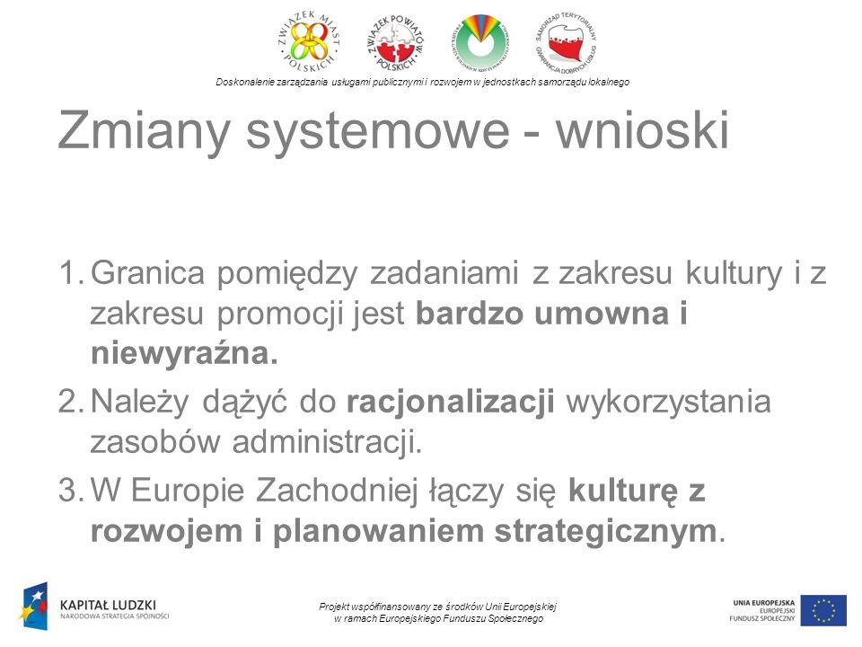 Doskonalenie zarządzania usługami publicznymi i rozwojem w jednostkach samorządu lokalnego Projekt współfinansowany ze środków Unii Europejskiej w ramach Europejskiego Funduszu Społecznego Zmiany systemowe - wnioski 1.Granica pomiędzy zadaniami z zakresu kultury i z zakresu promocji jest bardzo umowna i niewyraźna.