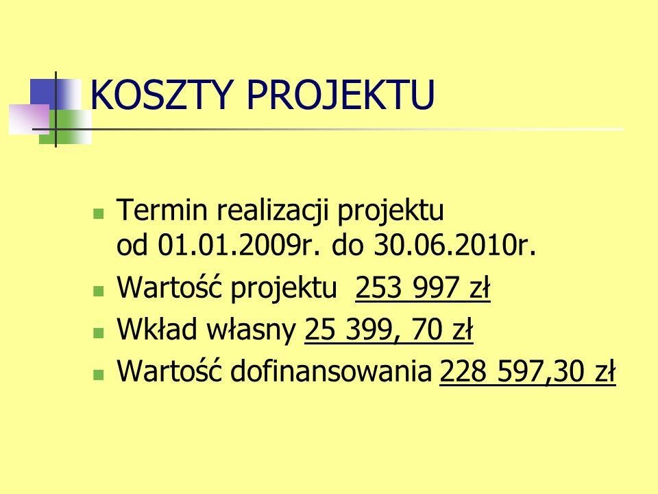 KOSZTY PROJEKTU Termin realizacji projektu od 01.01.2009r.