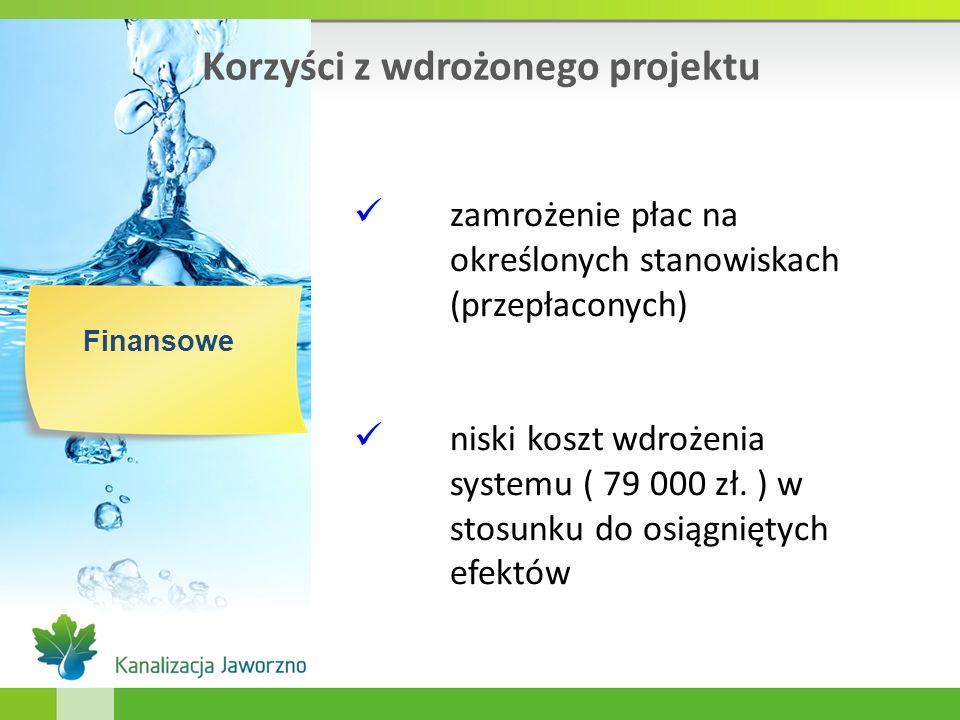 Korzyści z wdrożonego projektu Finansowe zamrożenie płac na określonych stanowiskach (przepłaconych) niski koszt wdrożenia systemu ( 79 000 zł. ) w st
