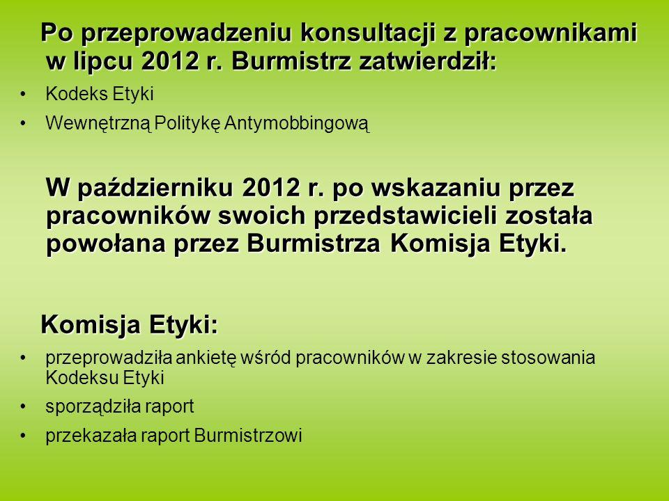 Po przeprowadzeniu konsultacji z pracownikami w lipcu 2012 r. Burmistrz zatwierdził: Kodeks Etyki Wewnętrzną Politykę Antymobbingową W październiku 20