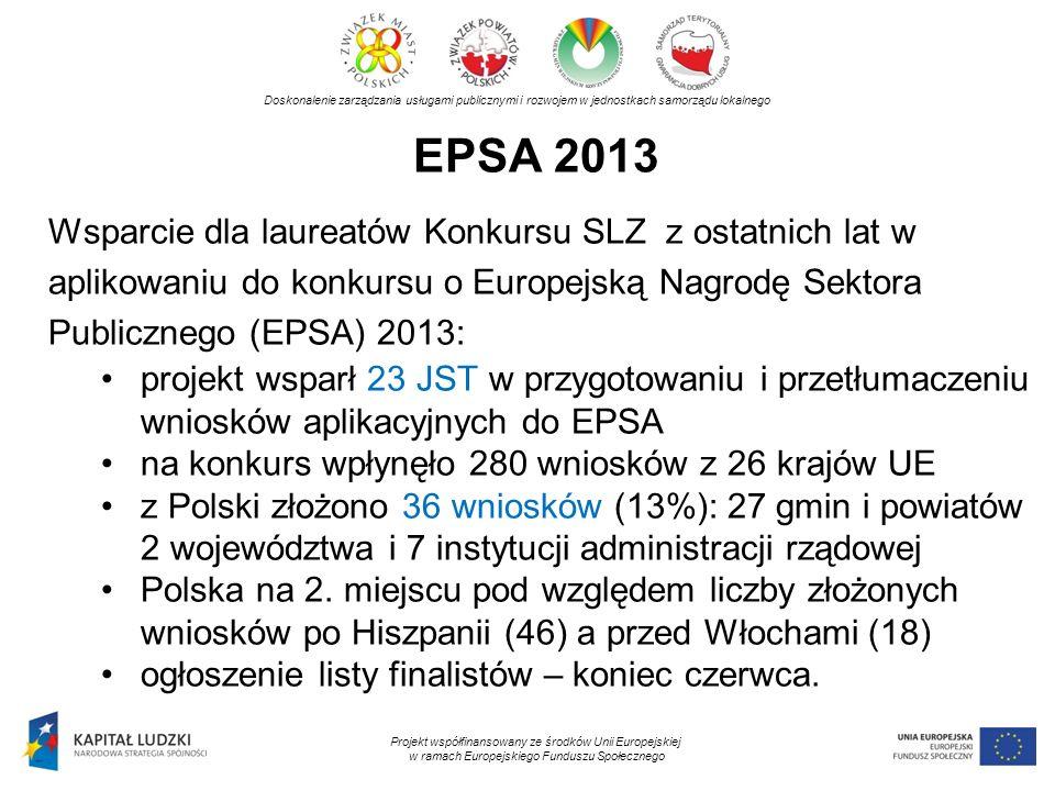 EPSA 2013 Doskonalenie zarządzania usługami publicznymi i rozwojem w jednostkach samorządu lokalnego Projekt współfinansowany ze środków Unii Europejs