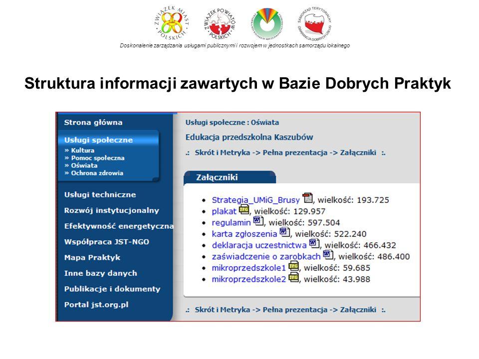 Struktura informacji zawartych w Bazie Dobrych Praktyk Doskonalenie zarządzania usługami publicznymi i rozwojem w jednostkach samorządu lokalnego
