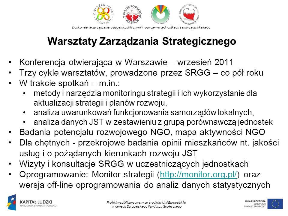 Warsztaty Zarządzania Strategicznego Doskonalenie zarządzania usługami publicznymi i rozwojem w jednostkach samorządu lokalnego Projekt współfinansowa
