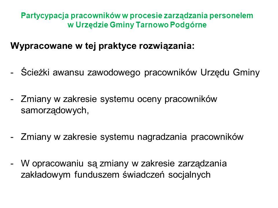 Partycypacja pracowników w procesie zarządzania personelem w Urzędzie Gminy Tarnowo Podgórne Wypracowane w tej praktyce rozwiązania: -Ścieżki awansu z