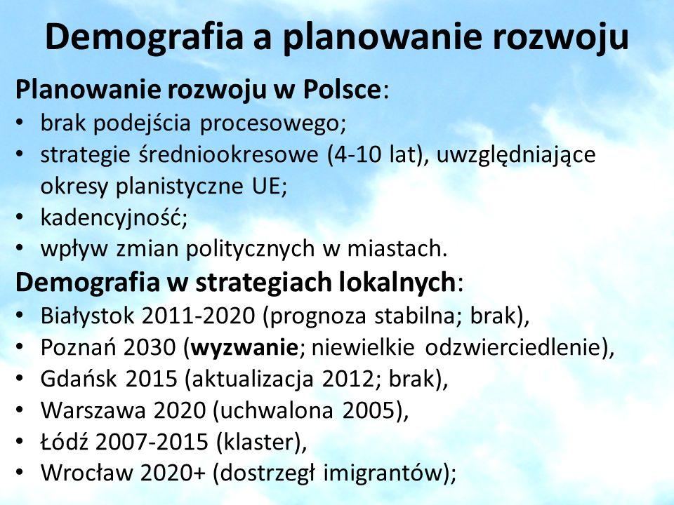 Demografia a planowanie rozwoju Planowanie rozwoju w Polsce: brak podejścia procesowego; strategie średniookresowe (4-10 lat), uwzględniające okresy p