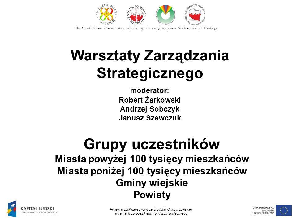Warsztaty Zarządzania Strategicznego moderator: Robert Żarkowski Andrzej Sobczyk Janusz Szewczuk Doskonalenie zarządzania usługami publicznymi i rozwo