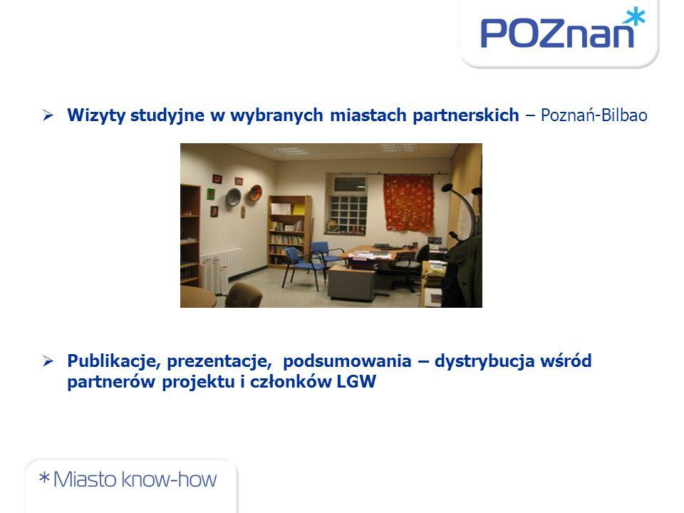 Wizyty studyjne w wybranych miastach partnerskich – Poznań-Bilbao Publikacje, prezentacje, podsumowania – dystrybucja wśród partnerów projektu i członków LGW