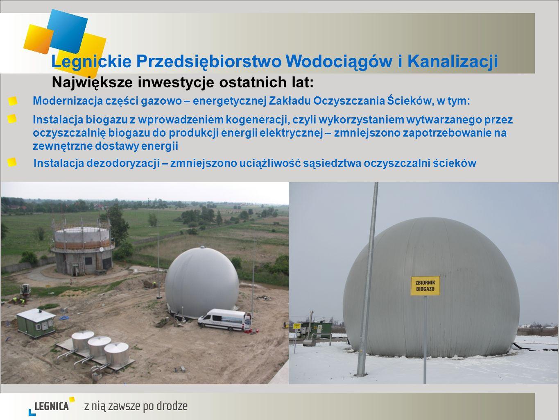 Legnickie Przedsiębiorstwo Wodociągów i Kanalizacji Największe inwestycje ostatnich lat: Modernizacja części gazowo – energetycznej Zakładu Oczyszczan