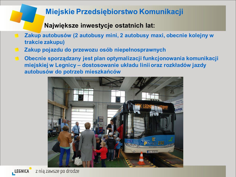 Miejskie Przedsiębiorstwo Komunikacji Największe inwestycje ostatnich lat: Zakup autobusów (2 autobusy mini, 2 autobusy maxi, obecnie kolejny w trakci